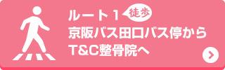 京阪バス田口バス停からT&C整骨院へ