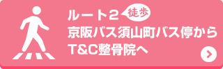 京阪バス須山町バス停からT&C整骨院へ